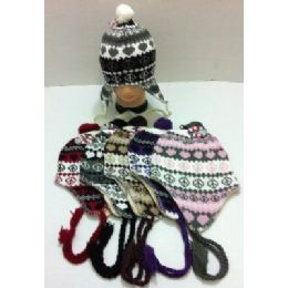 144 of Knit Hat With Ear FlaP--Heart & Peace Sign
