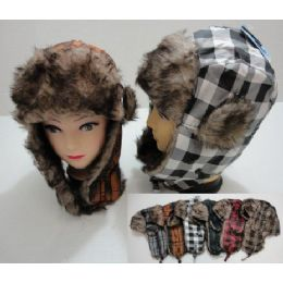 24 of Bomber Hat With Fur LininG--New Plaid