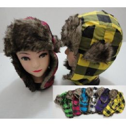 48 of Child's Bomber Hat with Fur Lining--Neon Plaid