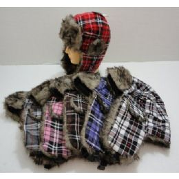 48 of Bomber Hat With Fur LininG--Plaid