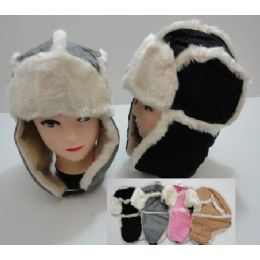 48 of Bomber Hat With Fur LininG-TwO-Tone SuedE-Like