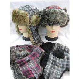 60 of Winter Plaid Pilot Hat With Heavy Faux Fur