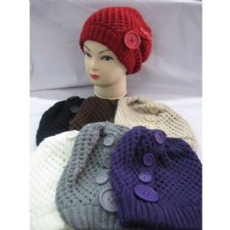 60 of Ladies Hat With Large Buttons