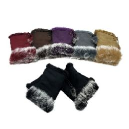 12 of Women's Suede With Fur Fingerless Gloves