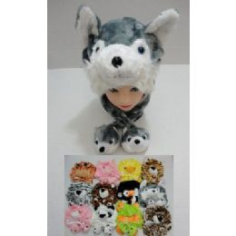 12 of Plush Animal Hat With 2 Babies