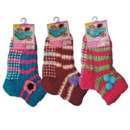 72 of Girls Slipper Socks With Gripper Bottom Size 6-8