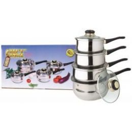 4 of 8 Pc Two Tone 18/10 Stainless Steel Sauce Pan Set W/ Stainless Steel Lids