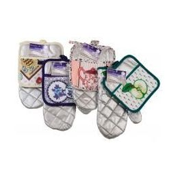 216 of Silver Colored Oven Mitt & Pot Holder Set (assorted Prints)