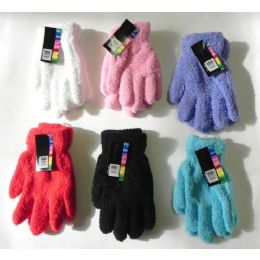 144 of Ladies Stretch Solid Fuzzy Gloves