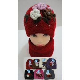 72 of Hand Knitted Fashion Hat & Scarf SeT--5 Flowers And Rhinestones
