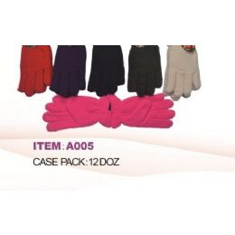 60 of Ladies Fleece Winter Gloves Asst Colors