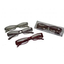 144 of Assorted Color Plastic Reading Glasses With Case