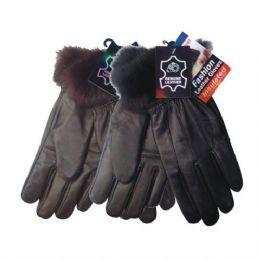 48 of Winter Glove Genuine Leather Women W/ Fur Cuff