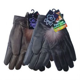 24 of Winter Glove Genuine Leather Women W/ Feather