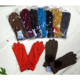 48 of Ladies Touch Screen Winter Glove With Pom Pom