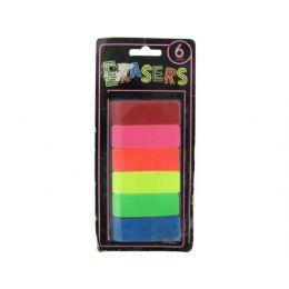 72 of 6 Piece Neon Erasers