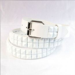 60 of Boys Metal Studded Belts In White
