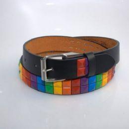 60 of Boys Rainbow Metal Studded Belts In Black