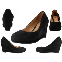 "12 of Women's Microsuede With 3 1/4"" Wedge Black Color Only"