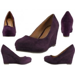 "12 of Women's Microsuede With 3 1/4"" Wedge Purple Color Only"
