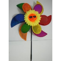 "60 of 15"" Double Flower Petal Wind SpinneR-Rainbow & Sunflower"