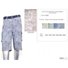 48 of Mens Tye Dye Color Cotton Blend Cargo Shorts