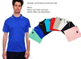 24 of Mens Solid Polo Shirt Jersey Fabric M-Xxl