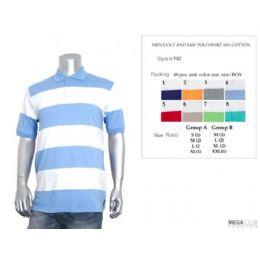 36 of Mens Cut & Saw Wide Stripe Polo Shirt S-xl