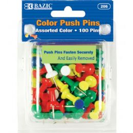 48 of Bazic Assorted Color Push Pins (100/pack)