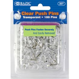 24 of Bazic Clear Transparent Push Pins (100/pack)
