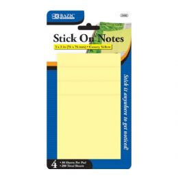 "48 of Bazic 50 Ct. 3"" X 3"" Yellow Stick On Notes (4/pack)"