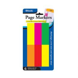 "48 of Bazic 80 Ct. 1"" X 3"" Neon Page Markers (6/pack)"