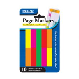 "24 of Bazic 100 Ct. 0.5"" X 1.75"" Neon Page Marker (10/pack)"
