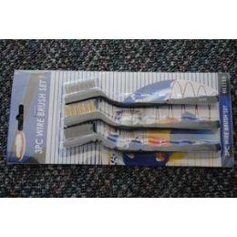 "48 of 12 Pcs Of 3pc 7"" Mini Wire Brush SeT-Black Handle"