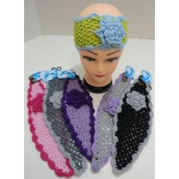48 of Loose Knitted Sparkle Ear Band With Flower & Fur