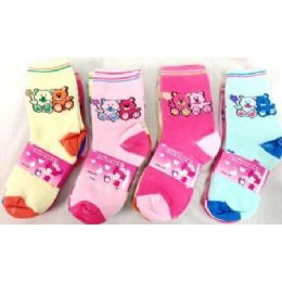 96 of Bear Girl Socks Size 4-6 & 6-8 Assorted Colors