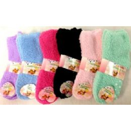 96 of Girls Babys Fuzzy Socks Size 4-6 Solid Colors