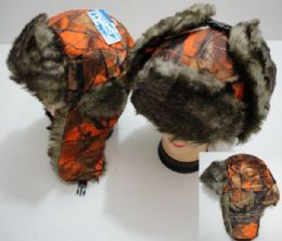 12 of Aviator Hat With Fur Trim, Orange Camo
