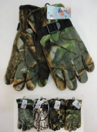 24 of Men's Hardwood Camo Fleece Gloves