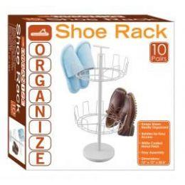 4 of 10-Pair 2 Tier Revolving Shoe Racks