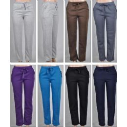 48 of Ladies Fleece Lined PantS-Plain 2 Pockets Solid Colors