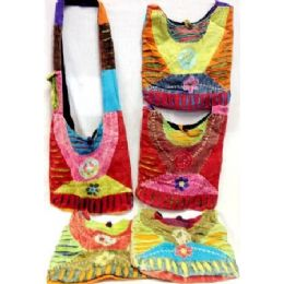 5 of Nepal Tie Dye Cotton Peace Sign Hobo Sling Bags Purses