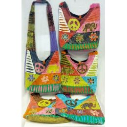 5 of Nepal Elephant Flower Design Hobo Bags Sling Purses Ast