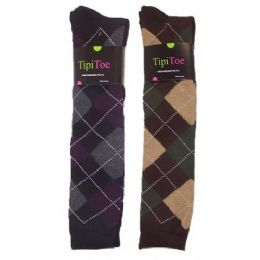 48 of Women Plaid Print Color Knee High