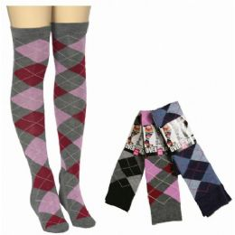 48 of Women Over The Knee Plaid Print Assorted Colors
