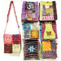 36 of Assorted Nepal Small Bags Tie Dye Fabric Sling