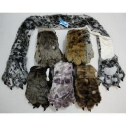 12 of Faux Fur Animal Scarf With Paw Gloves