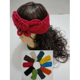 12 of Hand Knitted Ear Band [solid Color Loop W Bow]