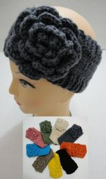 12 of Hand Knitted Ear Band [solid Color Loop W Flower