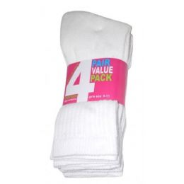 45 of Girls 4 Pair Value Pack Crew Sock White Color Only